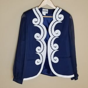 Vintage Blue Embroidered Blazer